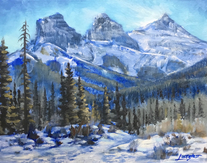 "Oil painting ""Three Sisters' Winter Wisp"" by James Lutzko"