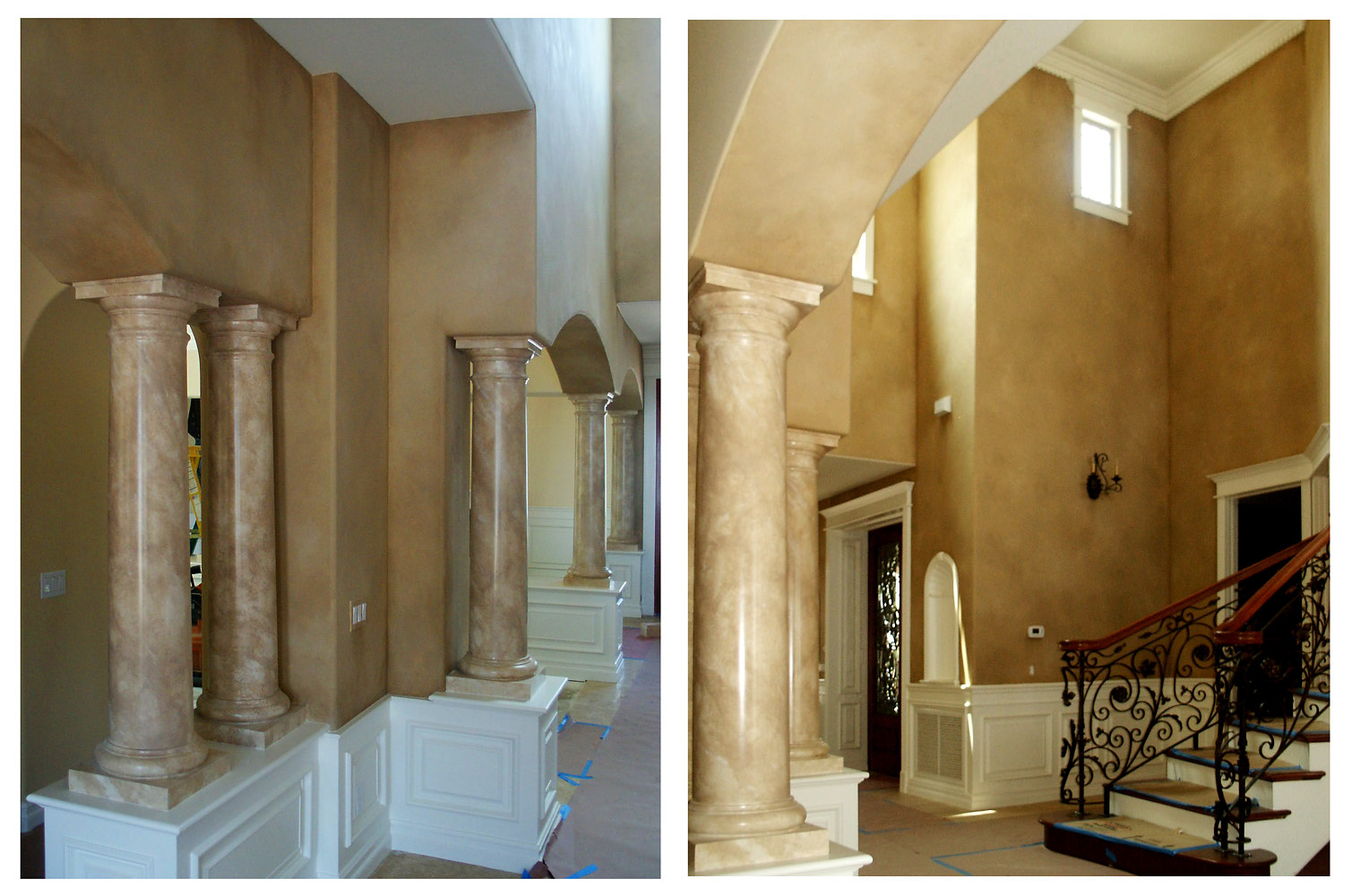 Faux Stone Columns and Heavy Paint Walls Entry Orange County by Robert Milling