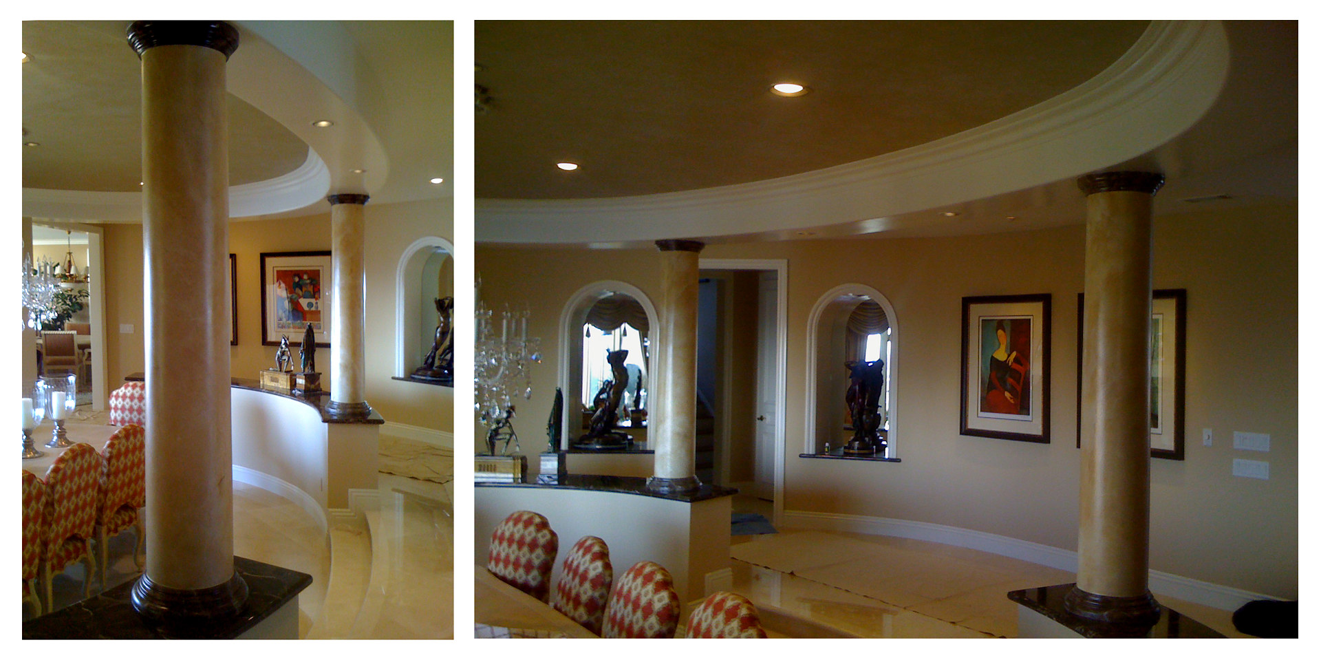 Marble Columns to Match Floor Orange County by Robert Milling