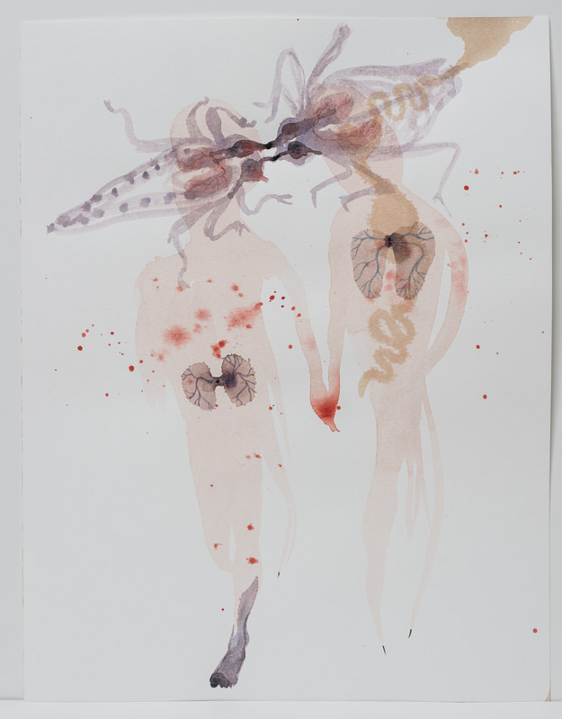 Watercolor Encore les marcheuses, 2012 by Caroline Boileau