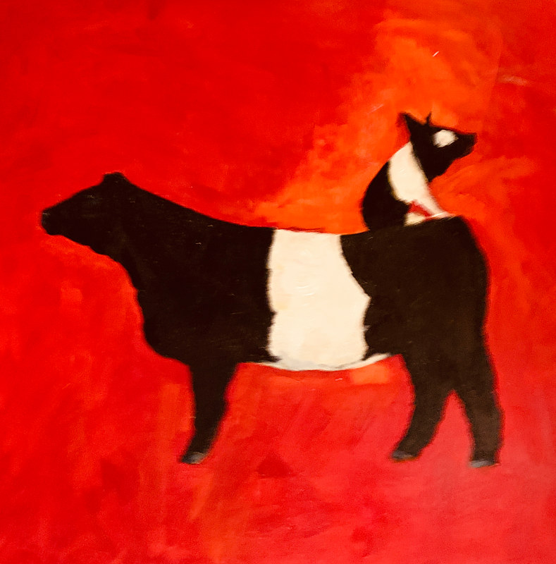 Acrylic painting What's black + white + red all over?  by Edith dora Rey