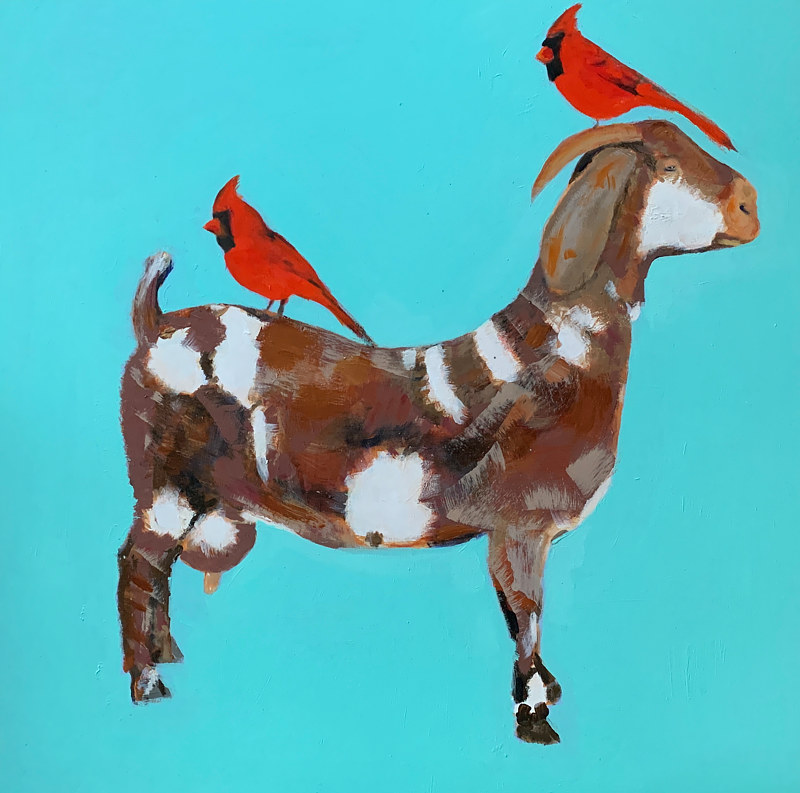 Acrylic painting Two cardinals + a goat,  2020  by Edith dora Rey