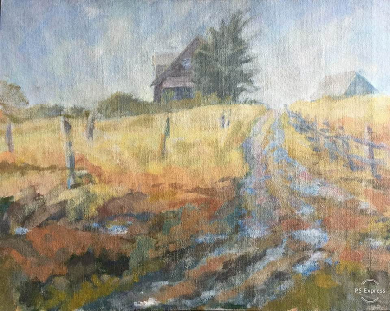 Acrylic painting Nova Scotia Farm House by Bernard Dick