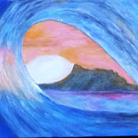 Acrylic painting Hawaiian Wave and Diamond Head Hawaii by Gwenda Branjerdporn