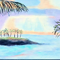 Acrylic painting Sunrise near Ko Olina Resort Hawaii by Gwenda Branjerdporn