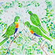 Oil painting Three Rainbow Lorikeets with the White Blossoms by Gwenda Branjerdporn