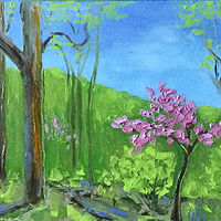 "Oil painting ""Spring Redbud"" (Spring Redbud Series) by Anne French"