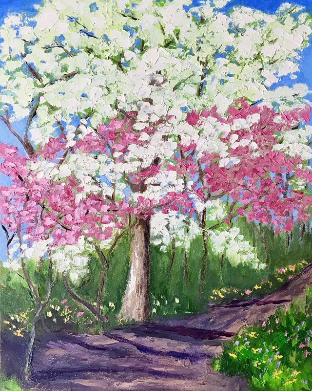"Oil painting ""In Full Bloom"" (Spring Redbud Series) by Anne French"