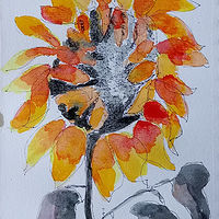 Painting Wilted Sunflower by Gwenda Branjerdporn