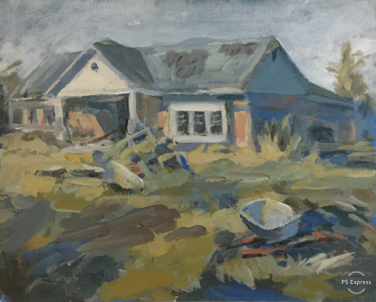 Acrylic painting Ruined North Road House by Bernard Dick