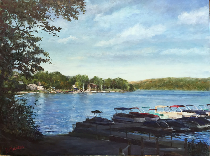 Oil painting New Fairfield CT. Town Marina with Boats by Betty Ann  Medeiros