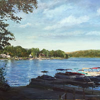 Oil painting New Fairfield CT. Town Marina with Boats by Elizabeth4361 Medeiros