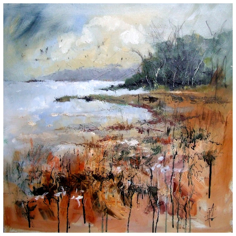 SOFTLY  WANDERING 60x60cm oil on canvas by Anne Farrall Doyle
