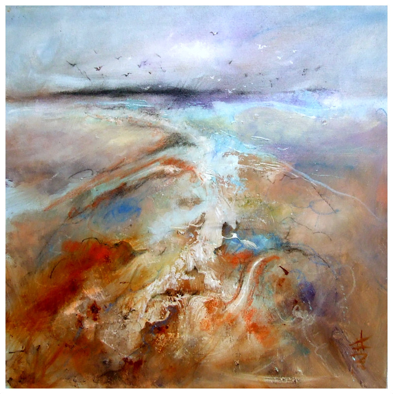 SWIRLING BEACH 60x60cm oil on canvas by Anne Farrall Doyle