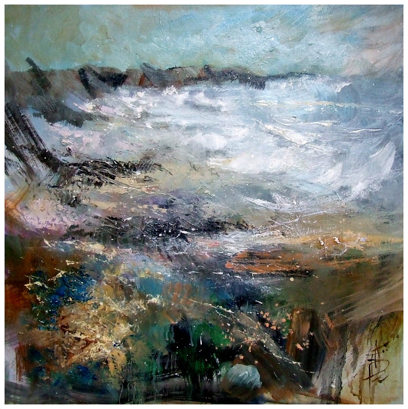 EXHALTING STORM 60x60cm oil on canvas by Anne Farrall Doyle