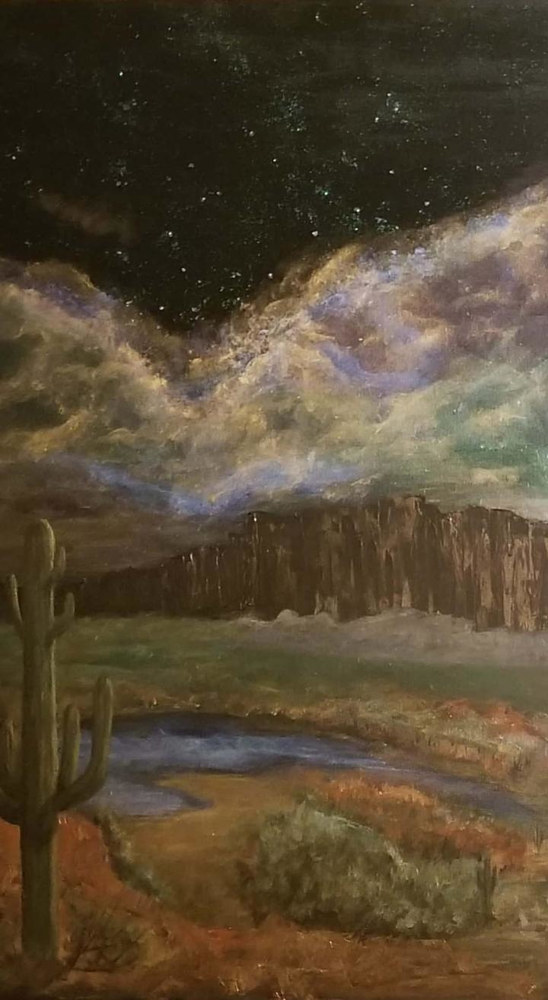 Acrylic painting Desert Nite Sky by Jan Wirth