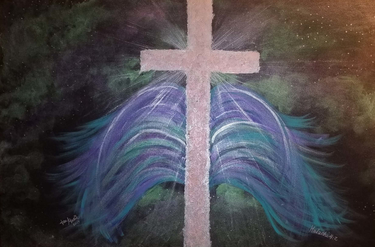 Acrylic painting Healing In His Wings by Jan Wirth