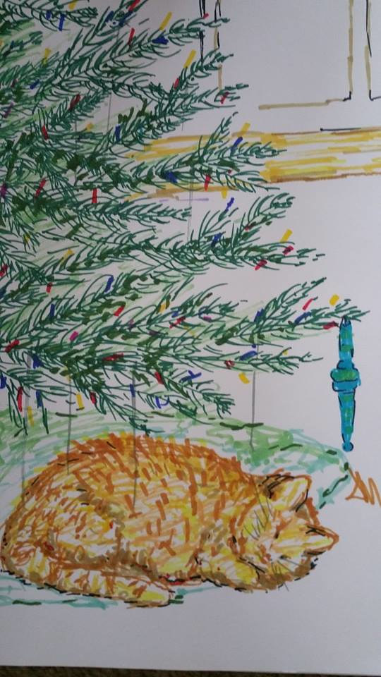 Drawing Christmas Kitty by Jan Wirth