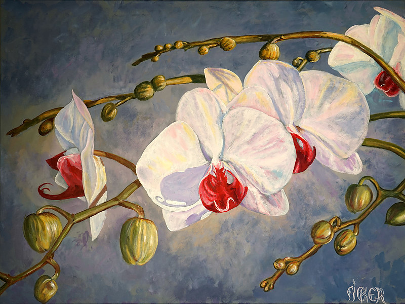 Acrylic painting Orchids by Richard Ficker