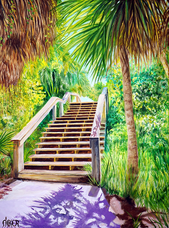 Oil painting Stairway To Heaven  by Richard Ficker