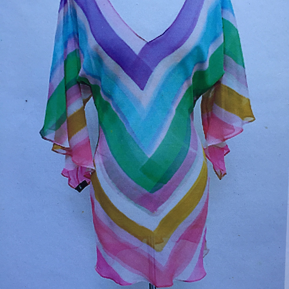 Painting Bright Pastel Chevron Stripe Bias V-neck Dress by Michael Shyka