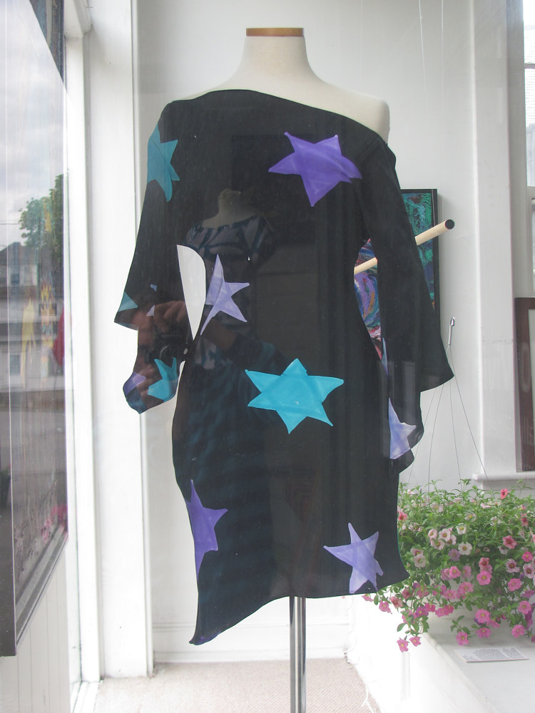 Painting Turquoise, Lavender, Silver Star print, Ink Ground Dress by Michael Shyka