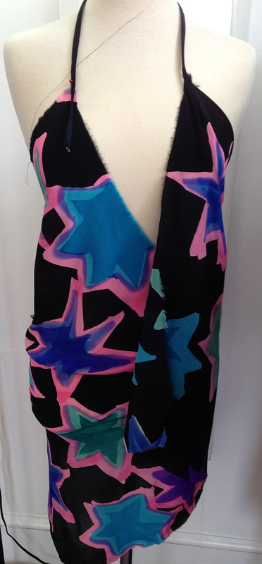 Painting Blue/ Pink Star Print, Indigo Ground, Wrap, Neck Strap Dress by Michael Shyka