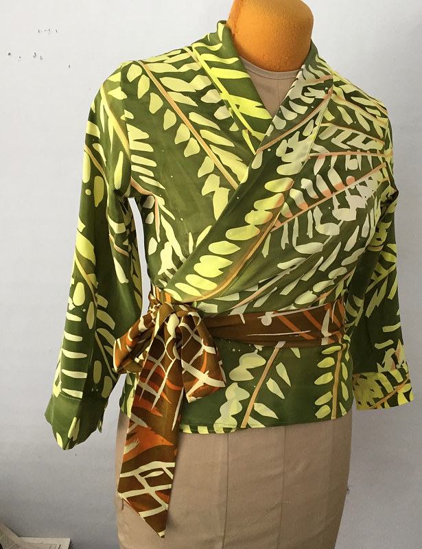 Painting Citron Lime Leaf, Olive Ground Wrap Robe Top by Michael Shyka