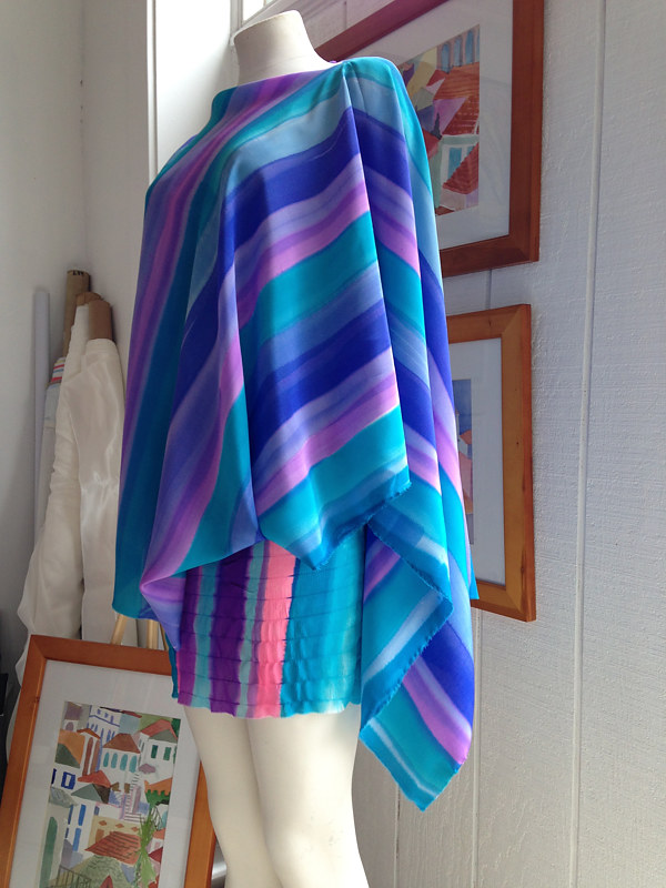Painting Turquoise, Lavender, Pink, Stripe Boatneck Poncho  by Michael Shyka