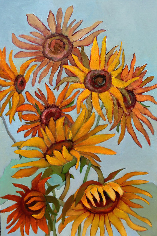 Painting Curly Sunflowers by Svetlana Barker