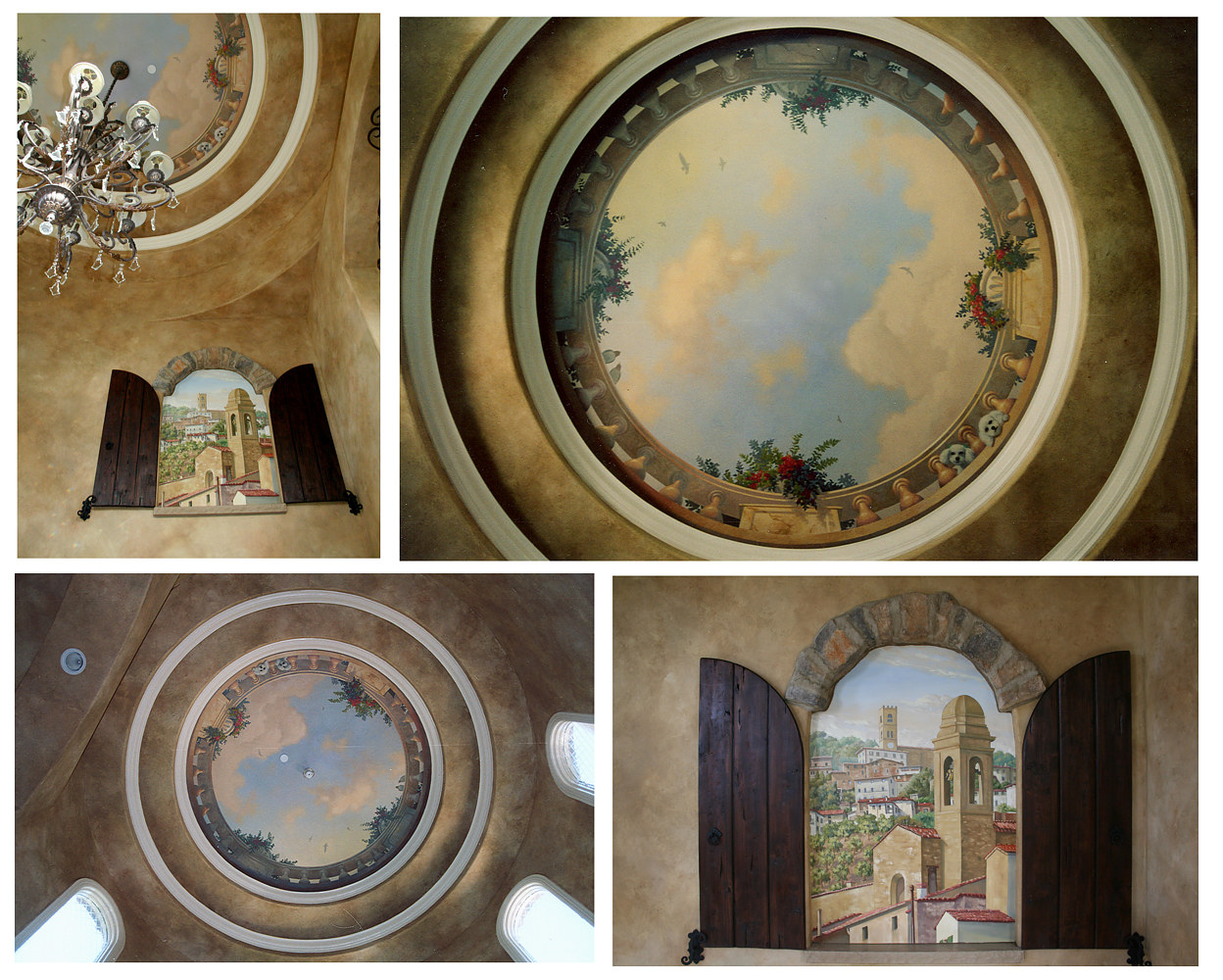 Ceiling and Wall Mural Against Faux Finish of Entry by Robert Milling