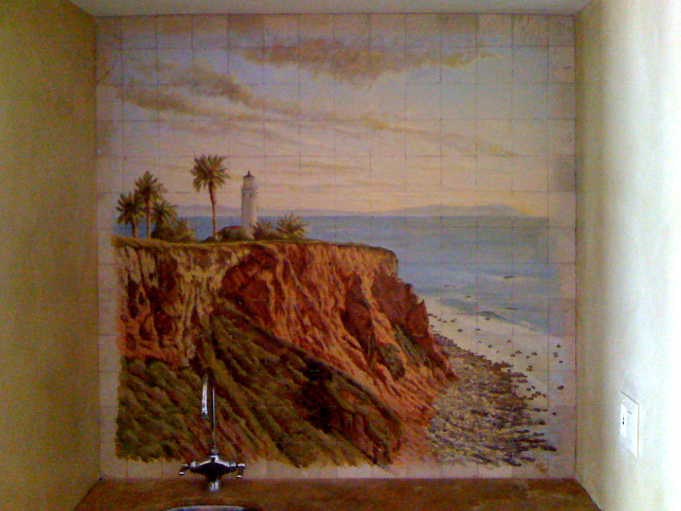 Palos Verdes Landscape on Tile Back Splash by Robert Milling