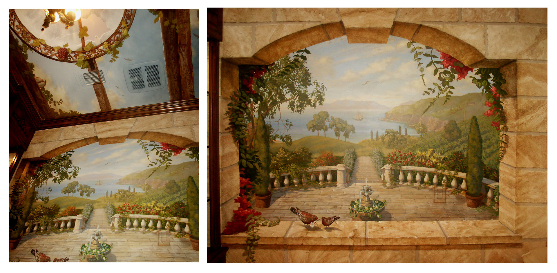 Powder Room of Faux Stone and Murals by Robert Milling
