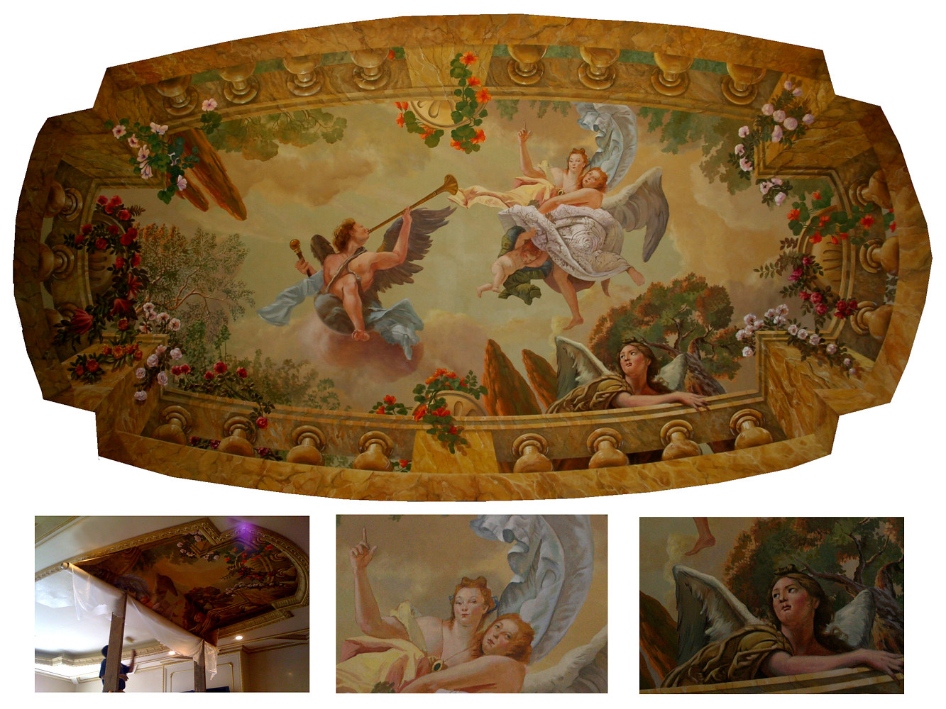 Tiepolo Inspired Ceiling Mural Palos Verdes Estates by Robert Milling