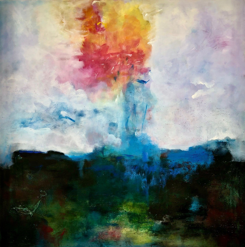 "Mixed-media artwork ""Sunset Rainstorm"" by Mike Salcido"