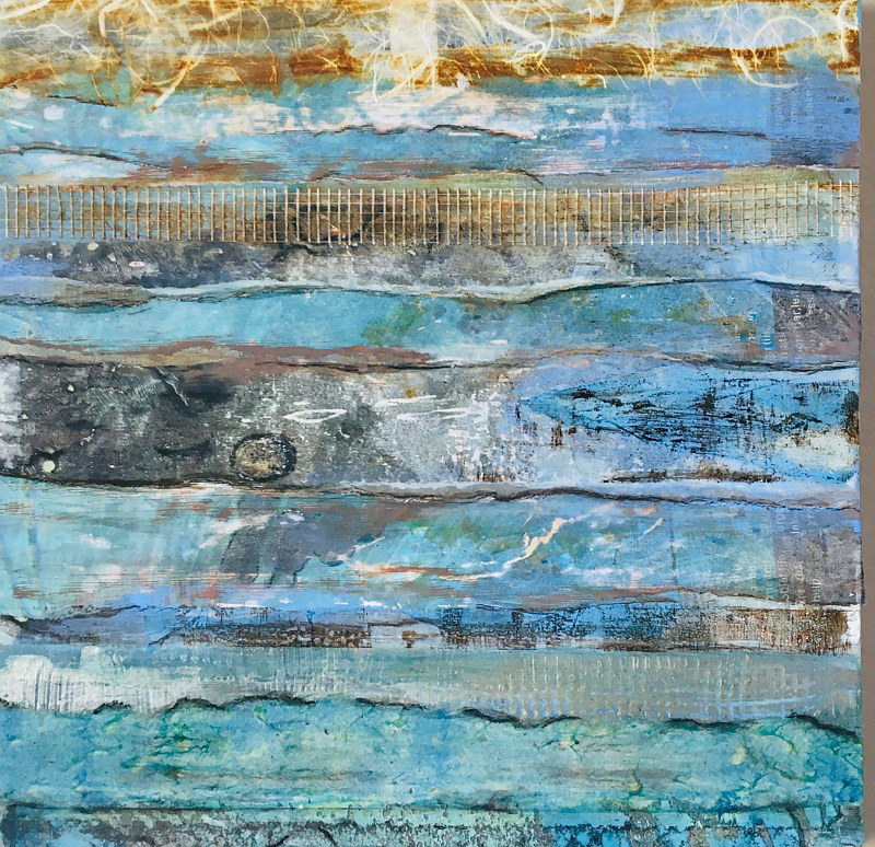 Mixed-media artwork Aquatic Pastures by Erin  O'Brien