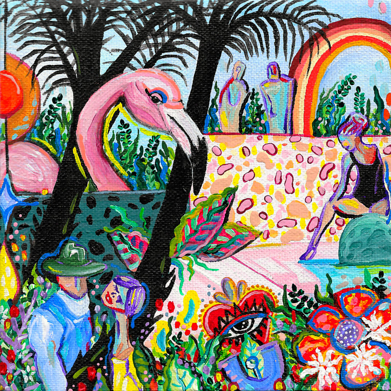 Acrylic painting Flamingo Garden by Amber N Petersen