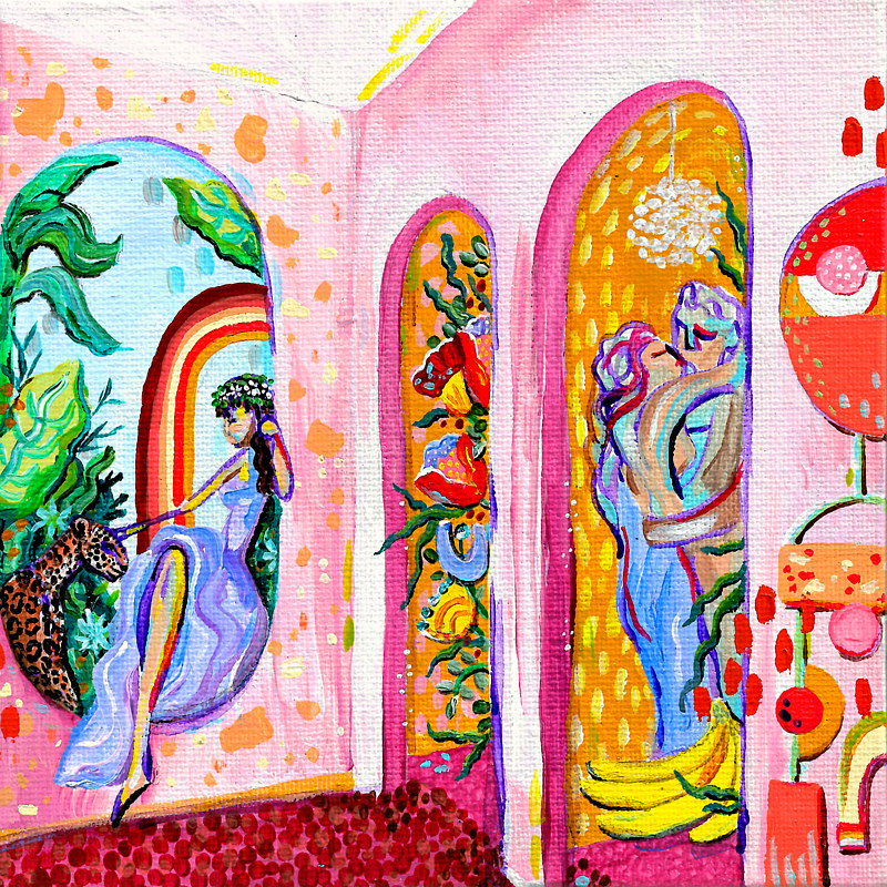Acrylic painting Pink Room by Amber N Petersen
