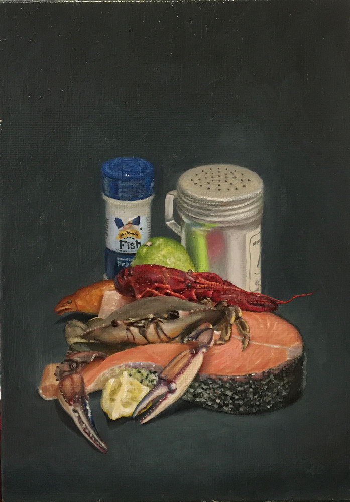 Acrylic painting Blue Crab by Arthur Carrillo
