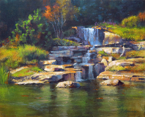Oil painting Koi Pond Waterfall by Kim Fujiwara