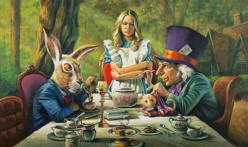 "Oil painting ""It's Tea Time!"" by Kim Fujiwara"