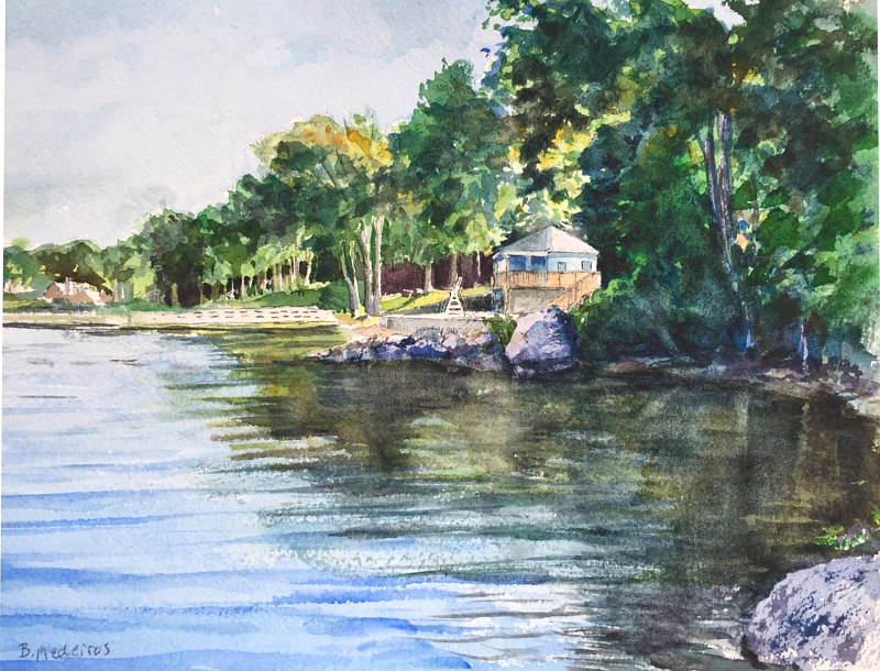 Watercolor New Fairfield Town Beach from The Marina by Elizabeth4361 Medeiros