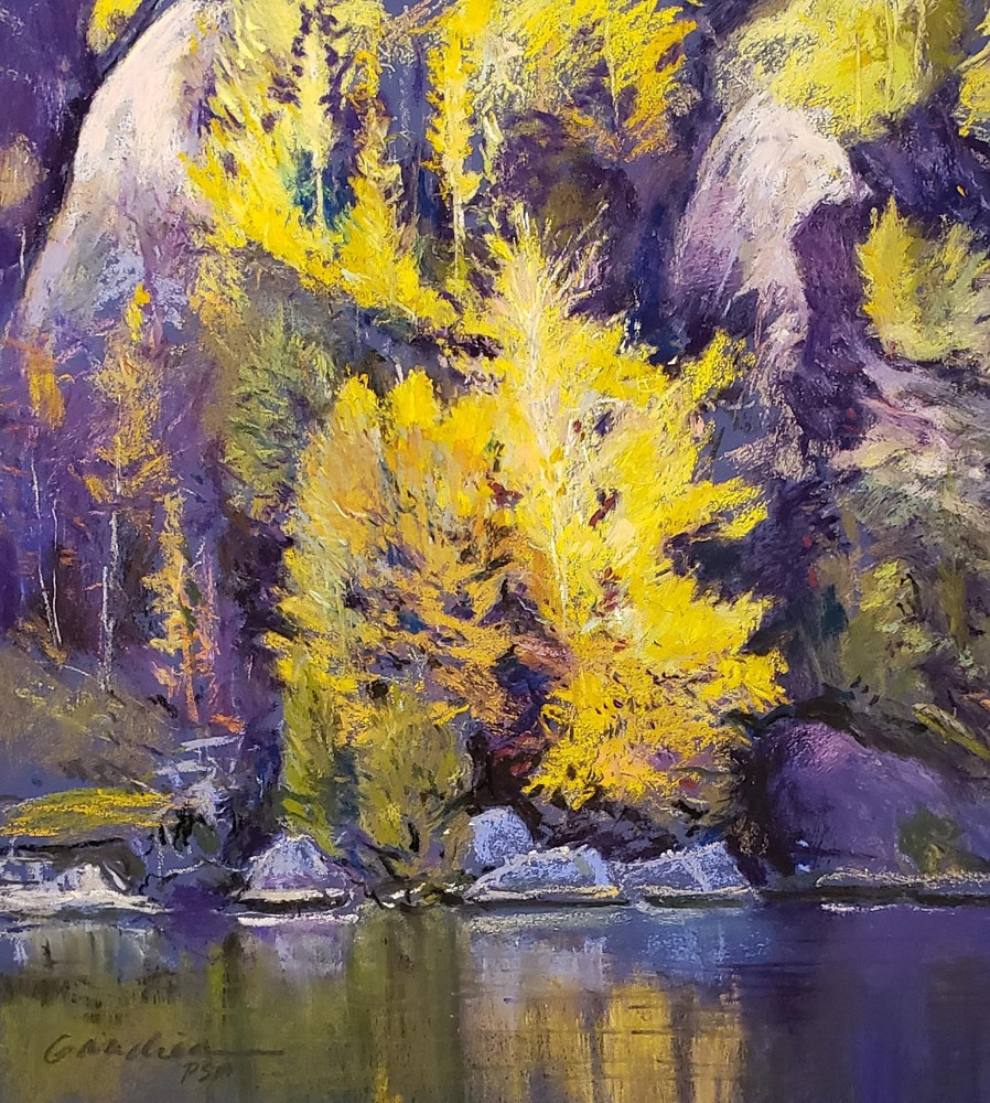 Morning light on Birch (Chapel Pond) pastel  by Michael  Gaudreau