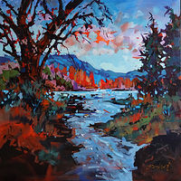 Escarpment Autumn Acrylic 36x36 2020 by Brian  Buckrell