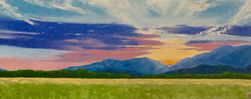 "Oil painting ""View From the Barracks - Garth Rd. Sunset"" by Anne French"