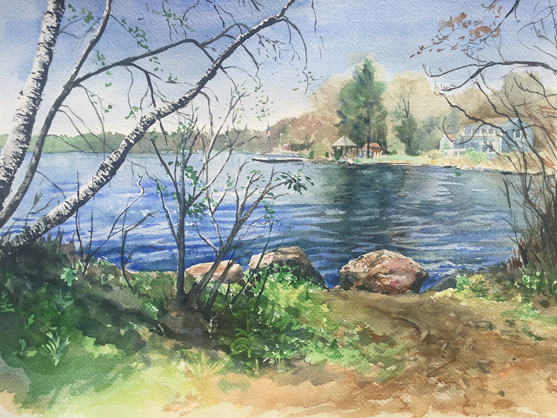 Watercolor Ball Pond, New Fairfield, CT by Betty Ann  Medeiros