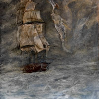 Mixed-media artwork Ship in Fog by Eveline Wallace