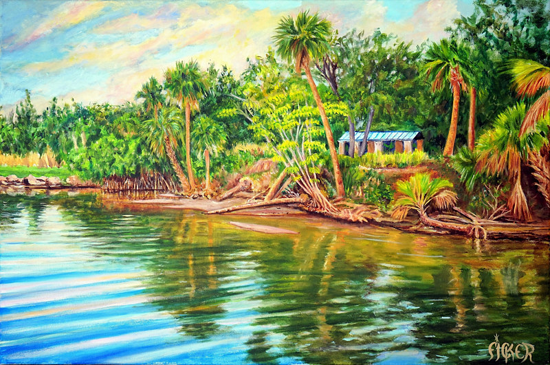 Oil painting India River Lagoon by Richard Ficker
