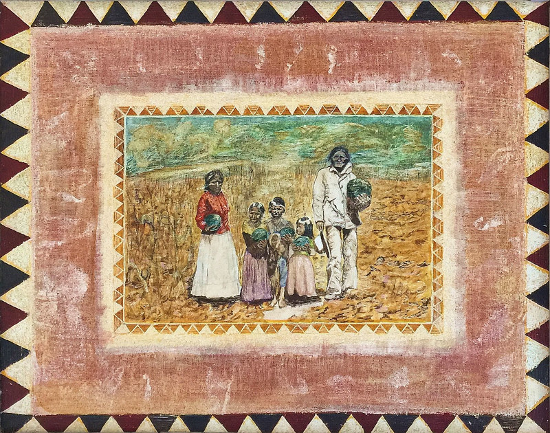 Geronimo and Family in Watermellon Field by Eveline Wallace