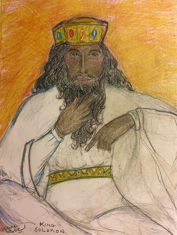 Mixed-media artwork King Solomon by Eveline Wallace